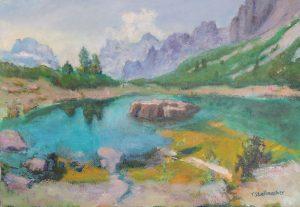 Bergsee in den Dolomiten in Suedtirol beim Falzaregopass 50x70 cm Acrylbild auf Leinwand