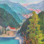 Bergsee und Tal in den Vogesen Acrylbild auf Leinwand 50x70 cm