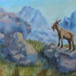Bergziege in den Dolomiten Acryl auf Leinwand 30x40cm