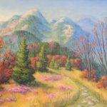 Blick auf den Belchen im Herbst Acryl auf Leinwand 50x70 cm
