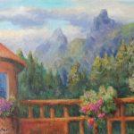 Blick von der Terrasse zu den Spitzen des Rosengartens Acryl 30x40
