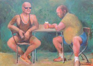 Coole Typen im Biergarten Gemaelde in Acryl auf Leinwand 50x70 cm