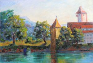 Rheinturm in Rheinfelden Acryl auf Leinwand 50x70 cm