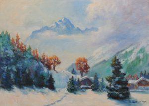 Lechtal im Winter Oel auf Leinwand 50x70 cm