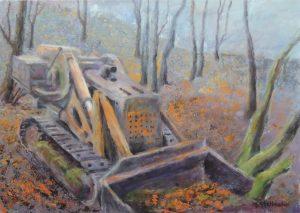 Deponierter Bagger im Wald 50x70 cm auf Leinwand Acryl