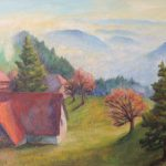 Dorf ueber dem Hochnebel Acryl 50x70 cm