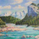 Gebirgsbach im Karwendel Acryl auf Leinwand 50x70 cm