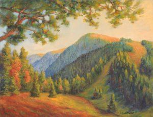 Hochschwarzwald spaetnachmittags Acryl auf Leinwand 55x70cm