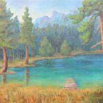 Lago Ghedina in den Dolomiten Acryl und Oel auf Leinwand 50x70 cm
