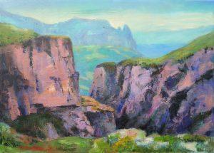 Langental mit Schlern bei Wolkenstein in den Dolomiten in Suedtirol 50x70 cm Acrylbild auf Leinwand
