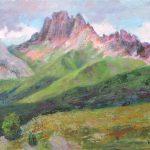 Licht und Schatten in den Dolomiten zwischen Langkofel und Seiser Alm 50x70 cm Acrylbild auf Leinwand