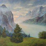 Lichtdurchflutetes Alpental abends im Karwendel von der Falkenhuette gesehen Oelbild 50x70 cm
