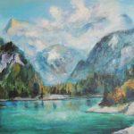 Nebelschwaden ueber Plansee Acryl auf Leinwand 50x70 cm