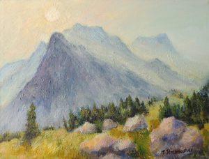 Sonnenstrahlen zwischen den Bergen bei Engelberg Acryl auf Leinwand 30x40 cm