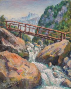 Steg ueber Wasserfall Acryl auf Leinwand 40x50 cm