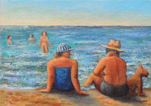 Strandleben an der Ostsee Gemaelde in Acryl auf Leinwand 50x70 cm