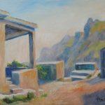 Verlassenes Bergdorf auf Kreta Oel auf Leinwand 30x40cm