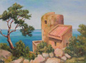 Wachtturm Santelmo Acryl auf Leinwand 50x70cm