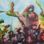Fantasie 1 Farbige Tusche auf Leinwand 40x50