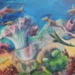 Fantasie 2 Farbige Tusche auf Leinwand 37x41 cm