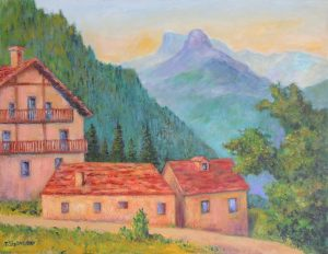 Spät am Tag bei Bosco-Gurin im Tessin, Acryl auf Leinwand, 63x47 cm