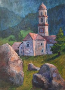 Kirche in Bosco-Gurin im Tessin, 50x70cm, Acryl auf Leinwand