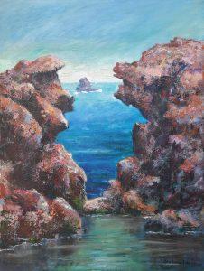 Küste in Sizilien, 50x70cm, Acryl auf Leinwand