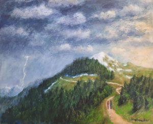 Drohendes Gewitter, 40x50 cm, Acryl auf Leinwand