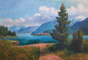 Blick vom Millstätter See zu den Quellwolken über den Hohen Tauern, 40x60 cm, Acryl auf Leinwand