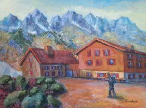 Jamtalhütte, 50x70 cm, Acryl auf Leinwand